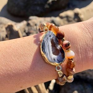 Druzy Agate Slice Beaded Stretch Bracelet
